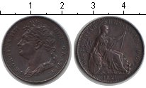 Изображение Монеты Великобритания 1 фартинг 1821 Медь XF Георг IV