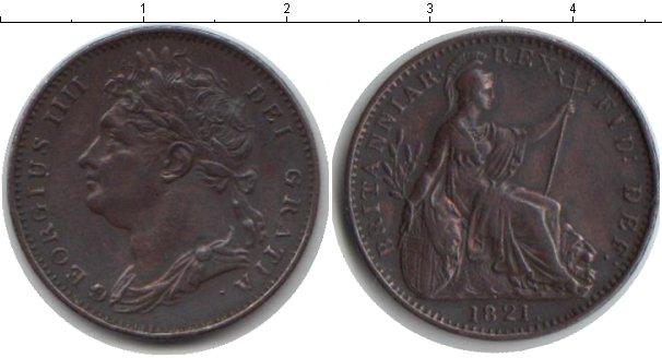 Картинка Монеты Великобритания 1 фартинг Медь 1821