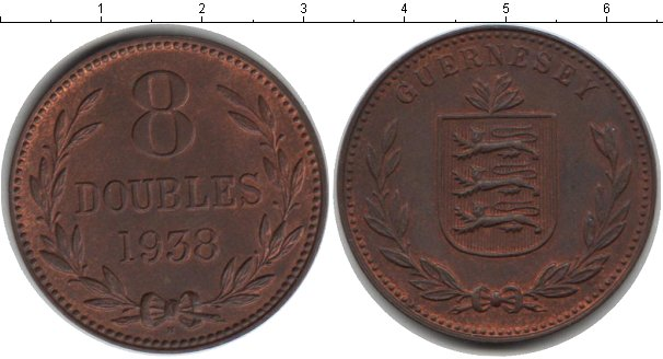 Картинка Монеты Гернси 8 дублей Медь 1938