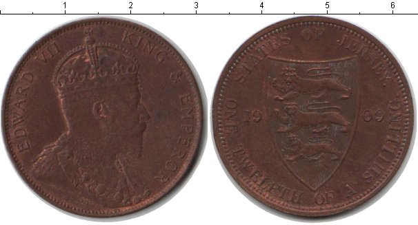 Картинка Монеты Остров Джерси 1/12 шиллинга Медь 1909