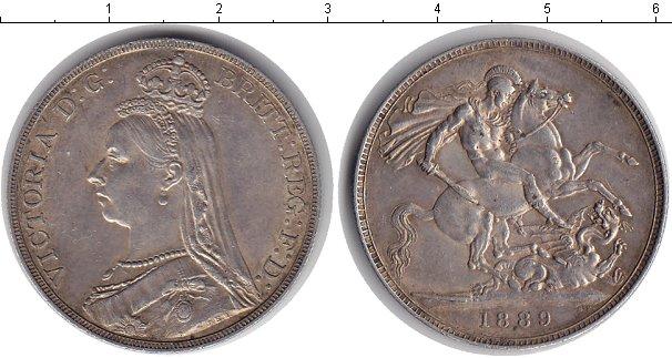 Картинка Монеты Великобритания 1 крона Серебро 1889
