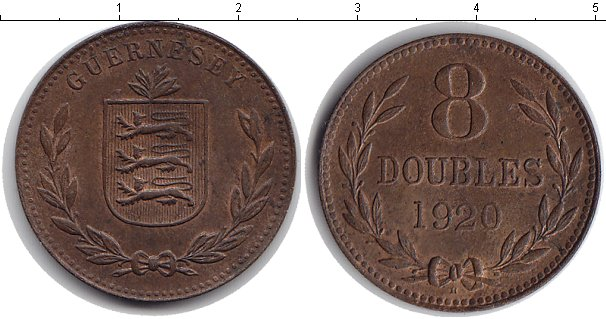Картинка Монеты Гернси 8 дублей Медь 1920