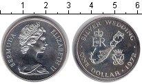 Изображение Монеты Бермудские острова 1 доллар 1972 Серебро XF 25-летие свадьбы Ели