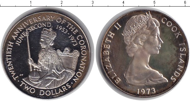 Картинка Монеты Острова Кука 2 доллара Серебро 1973