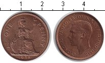 Изображение Монеты Великобритания 1 пенни 1938 Медь XF Георг VI
