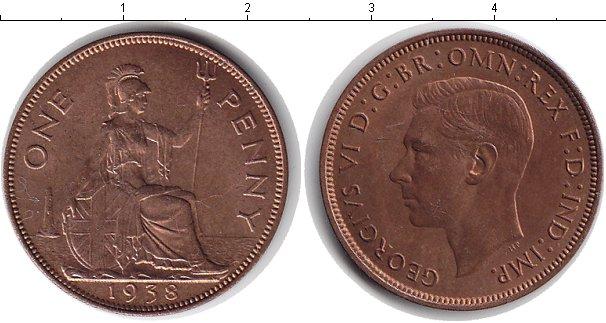 Картинка Монеты Великобритания 1 пенни Медь 1938