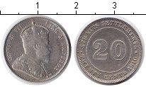 Изображение Монеты Стрейтс-Сеттльмент 20 центов 1910 Серебро XF Эдвард VII