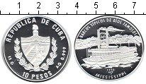 Изображение Монеты Куба 10 песо 1998 Серебро Proof- пароход