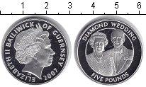 Изображение Монеты Гернси 5 фунтов 2007 Серебро Proof- Бриллиантовая свадьб