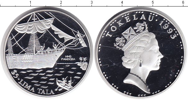 Картинка Монеты Токелау 5 тала Серебро 1993