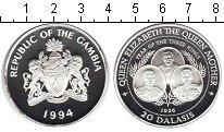 Изображение Монеты Гамбия 20 даласи 1994 Серебро Proof- Королева-Мать.
