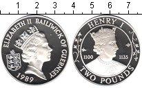 Изображение Монеты Гернси 2 фунта 1989 Серебро Proof Генрих I