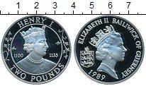 Изображение Монеты Гернси 2 фунта 1989 Серебро Proof- Генри I