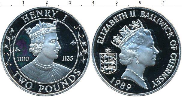 Картинка Монеты Гернси 2 фунта Серебро 1989