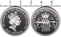 Изображение Монеты Великобритания 2 фунта 1989 Серебро Proof `300 лет ``Биллю о п
