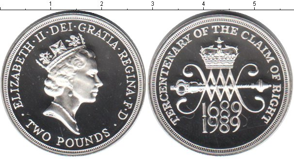 Картинка Монеты Великобритания 2 фунта Серебро 1989