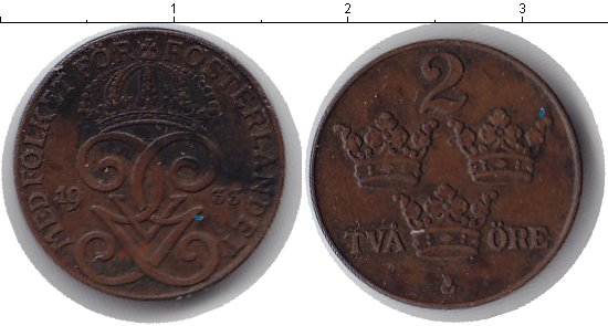Картинка Монеты Швеция 2 эре Медь 1933
