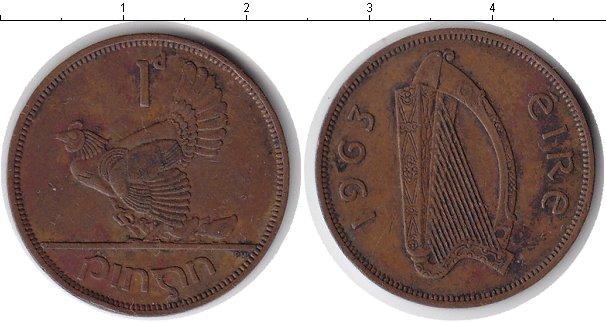Картинка Монеты Ирландия 1 пенни Медь 1963