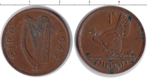 Картинка Монеты Ирландия 1 пенни Медь 1942