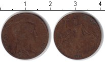 Изображение Монеты Франция 5 сантим 1912 Медь VF Республика защищает