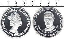 Изображение Монеты Теркc и Кайкос 20 крон 1992 Серебро Proof 40 лет вступления на