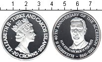 Изображение Монеты Теркc и Кайкос 20 крон 1992 Серебро Proof