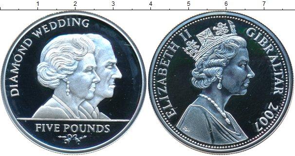 Картинка Монеты Гибралтар 5 фунтов Серебро 2007