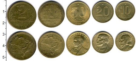 Изображение Наборы монет Бразилия Бразилия 1945-1955 0  XF В наборе 5 монет ном