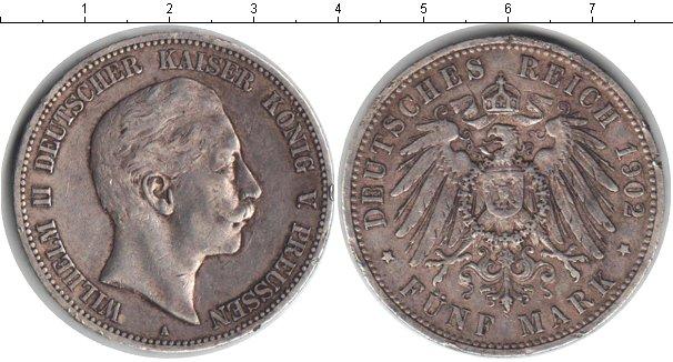 Картинка Монеты Пруссия 5 марок Серебро 1902