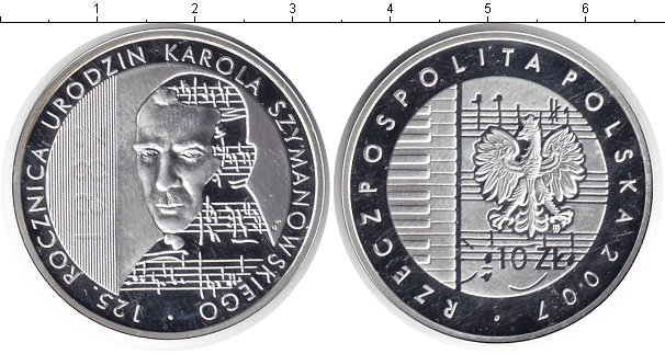 Картинка Монеты Польша 10 злотых Серебро 2007