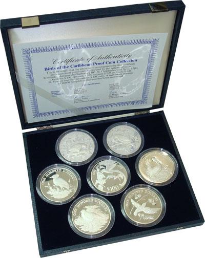 Изображение Подарочные монеты Карибы Карибские птички 0 Серебро Proof `Подарочный набор ``