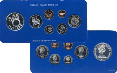 Изображение Подарочные монеты Соломоновы острова Выпуск 1977 1977  Proof Подарочный выпуск мо