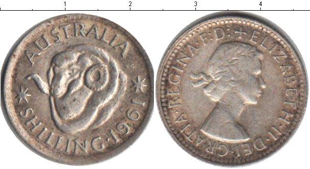 Картинка Монеты Австралия 1 шиллинг Серебро 1961