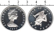 Изображение Монеты Остров Мэн 10 пенсов 1977 Серебро Proof-