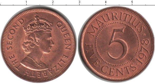 Картинка Монеты Маврикий 5 центов Медь 1978