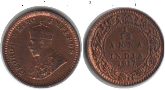 Картинка Монеты Индия 1/12 анны Медь 1917