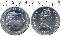 Изображение Монеты Каймановы острова 25 долларов 1972 Серебро UNC- Серебряная свадьба