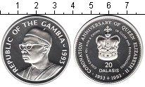 Изображение Монеты Гамбия 20 даласи 1993 Серебро Proof- 40-летие коронации