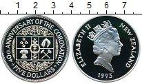 Изображение Монеты Новая Зеландия 5 долларов 1993 Серебро Proof-