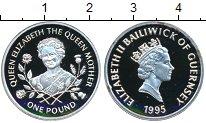 Изображение Монеты Гернси 1 фунт 1995 Серебро XF Королева-мать
