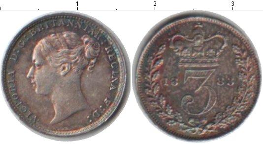 Картинка Монеты Великобритания 3 пенса Серебро 1883