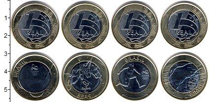 Изображение Наборы монет Бразилия Бразилия 2014 2014 Биметалл UNC- В наборе 4 монеты но