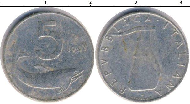 Картинка Дешевые монеты Италия 5 лир  1954
