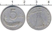 Изображение Дешевые монеты Италия 5 лир 1954 Алюминий XF
