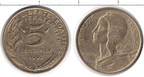 Картинка Дешевые монеты Франция 5 сантим Медь 1992