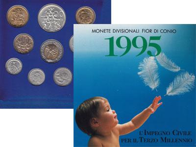 Изображение Подарочные монеты Сан-Марино Дети - цветы жизни 1995  UNC Набор посвящен детям