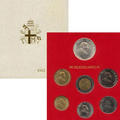 Изображение Подарочные наборы Ватикан 1982 ANNO IV 1982   В наборе 7 монет: 10