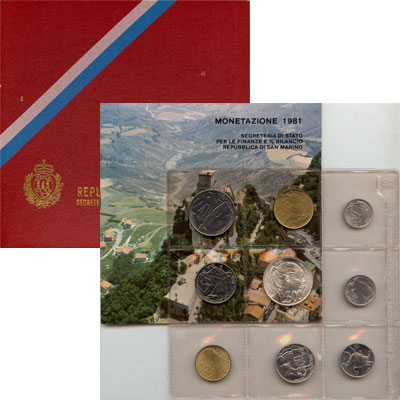 Изображение Подарочные монеты Сан-Марино Регулярный выпуск 1981 года 1981  UNC Набор посвящен регул