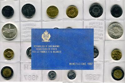 Изображение Подарочные наборы Сан-Марино Регулярный выпуск 1987 года, 1987  UNC