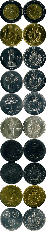 Картинка Подарочные монеты Сан-Марино Регулярный выпуск 1987 года,  1987